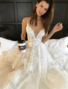 A Line Lace Wedding Dress Sexy Backless Sweep Train Wedding Bridal Gown