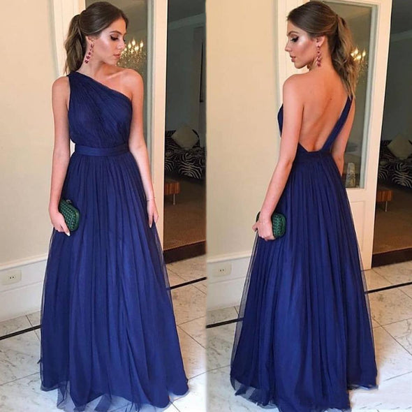 One Shoulder Backless Long Simple A Line Bridesmaid Dresses
