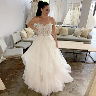 Wedding Dresses Sweetheart Appliques Bead Tiered Tulle Skirt Bridal Dress Custom