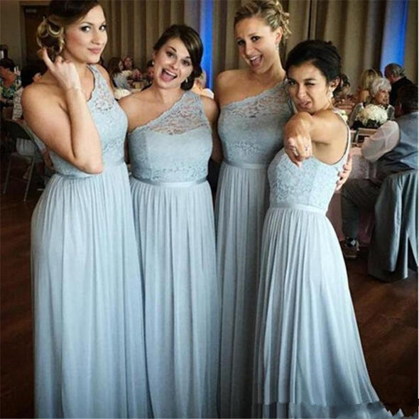 One Shoulder Lace Top A-Line Long Bridesmaid Dresses