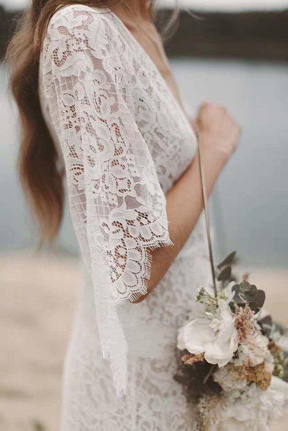 Beach Wedding Dresses Bohemian Lace 2020 Deep V Neck Country A Line Bridal Gowns