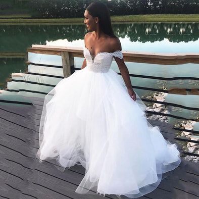 Summer A Line Wedding Dresses 2020 Sexy Back Lace Sweetheart Off Shulder Bride Gowns