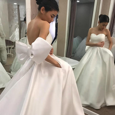 Simple Ball Gown Wedding Dresses with Back Big Bow robe mariee