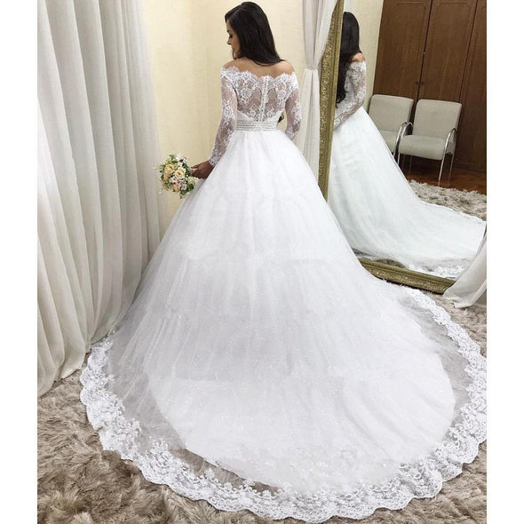 Off-shoulder Princess Ball Gown Wedding Dresses Long Sleeve