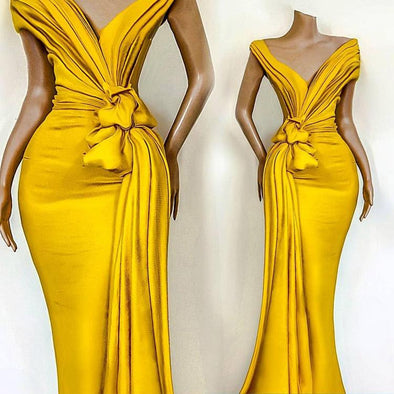 Yellow 2020 African Evening Dresses Pleats Knoted Mermaid Prom Gowns V Neck Short Sleeve Ruffles Formal Party Celebrity Gowns