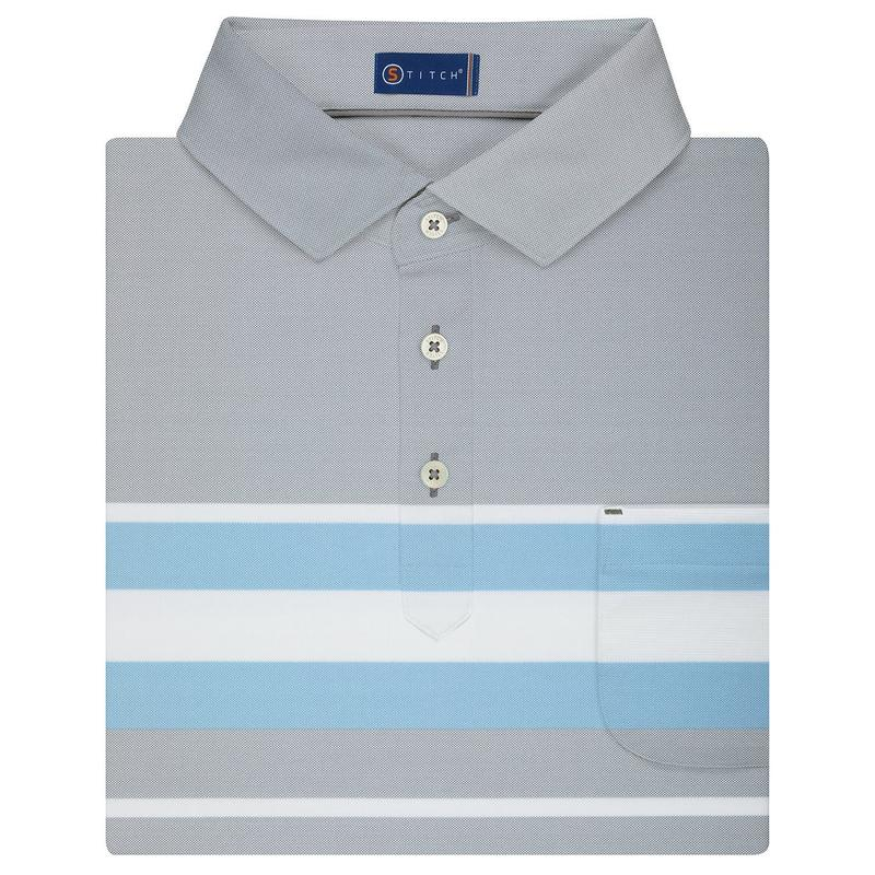 Stitch Monterey Stripe Polo - Forged Gray