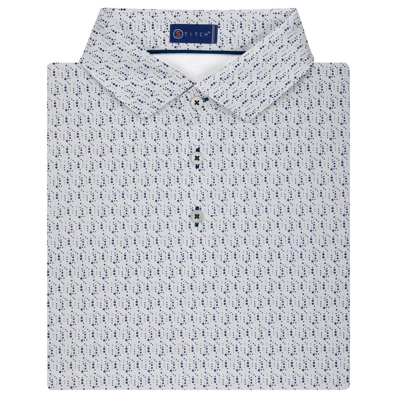 Stitch Rain Printed Polo - Stitch Navy