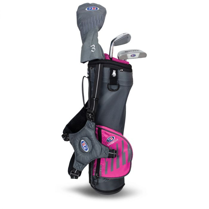 U.S. Kids UL39-s 3 Club Carry Set ~ Grey/Pink Bag