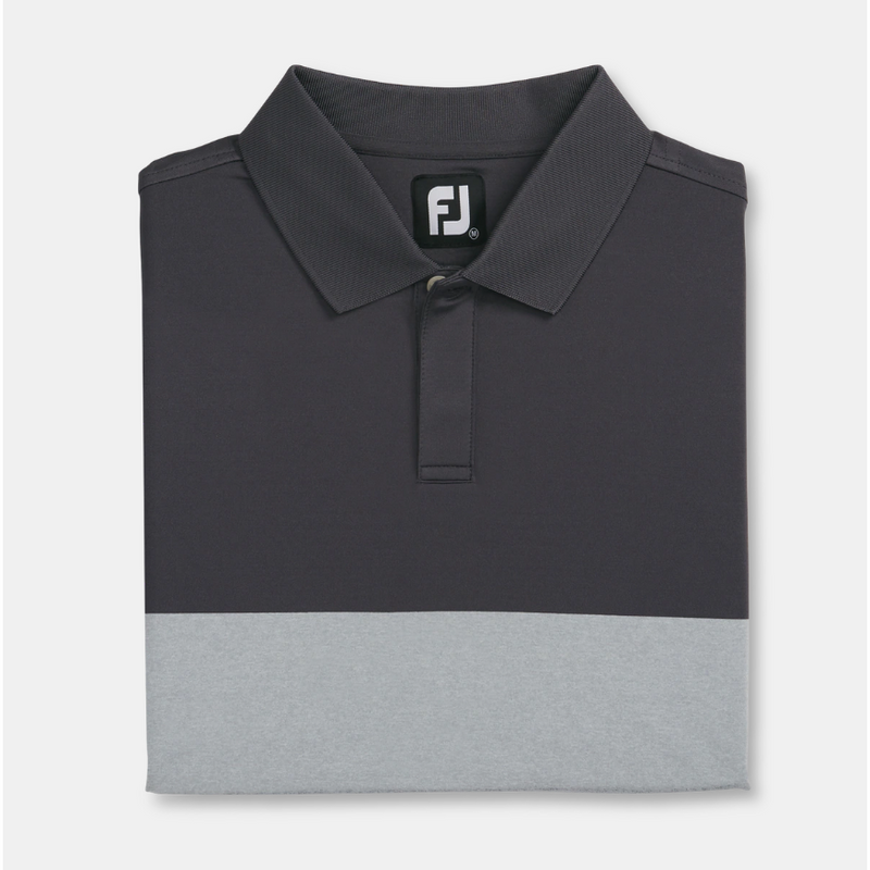 FJ Lisle Simple Block Knit Collar - Charcoal / Heather Grey