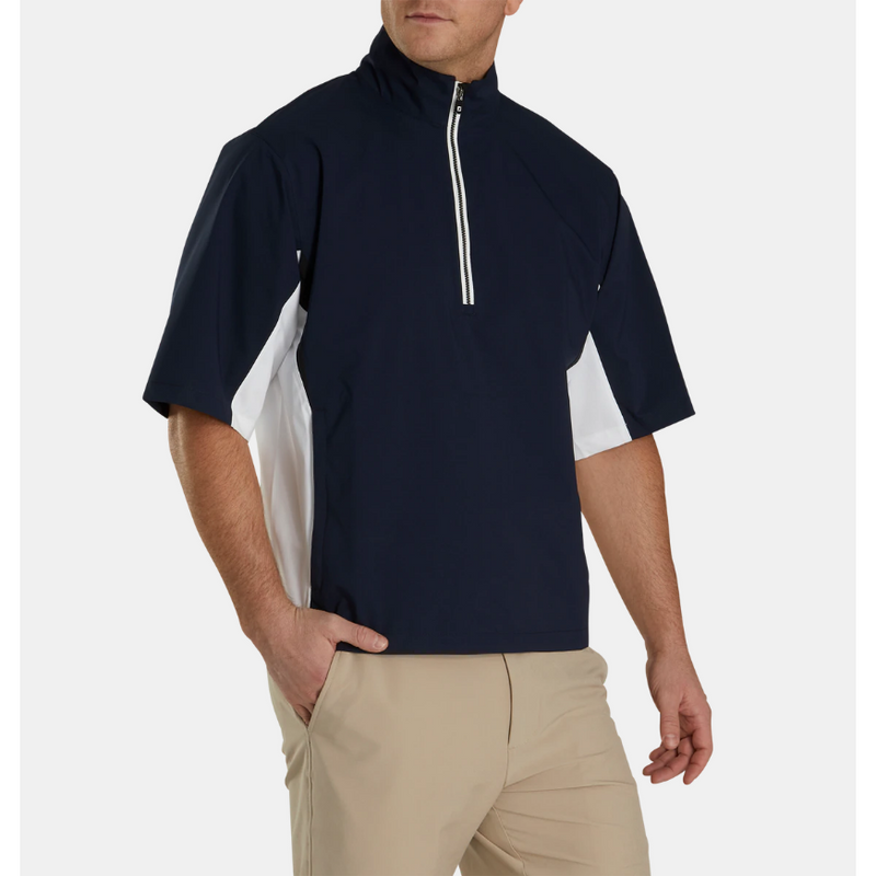 FJ HydroLite Short Sleeve Rain Shirt - Navy / White / Black