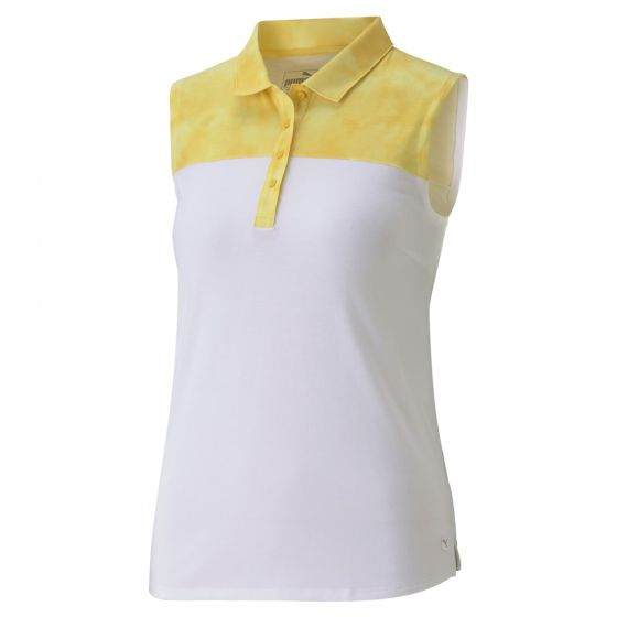 Puma Women's Tie Dye Blocked Sleeveless Golf Polo ~ Super Lemon