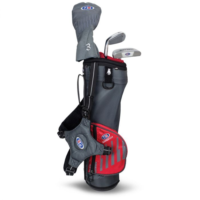 U.S. Kids UL39-s 3 Club Carry Set ~ Grey/Red Bag