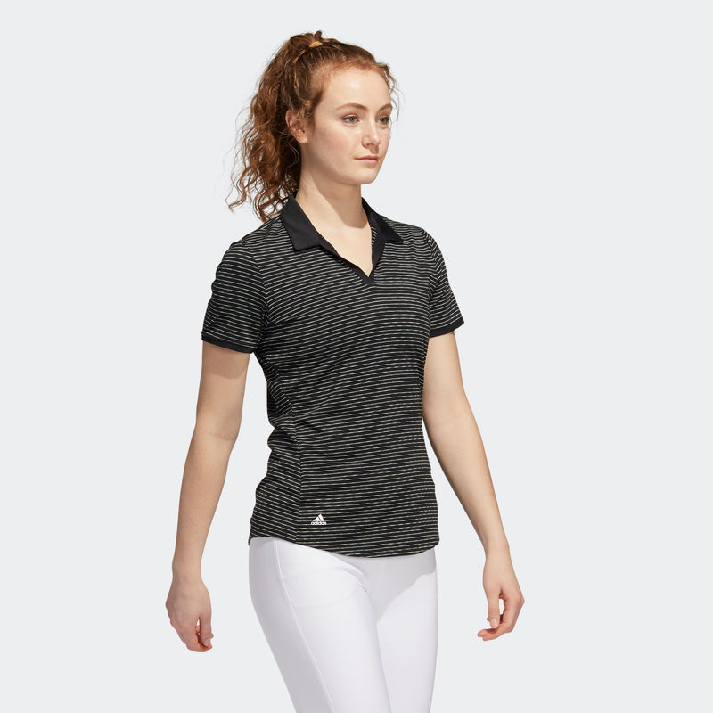 Adidas Women's Ultimate 365 Space-Dyed Striped Polo ~ Black