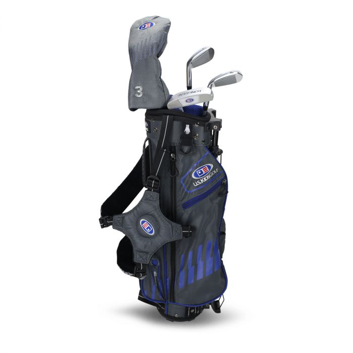 U.S. Kids UL45-s 4 Club Stand Set ~ Grey/Blue Bag