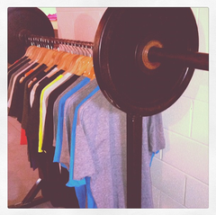 custom rack of workout gear by steel clothing