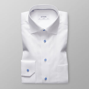 White With Blue Details Classic Fit Shirt