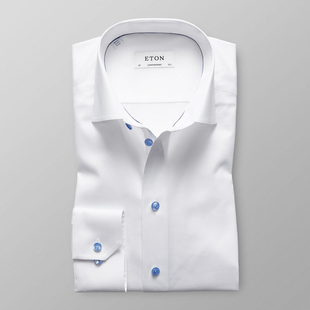 White With Blue Details Super Slim Fit Shirt