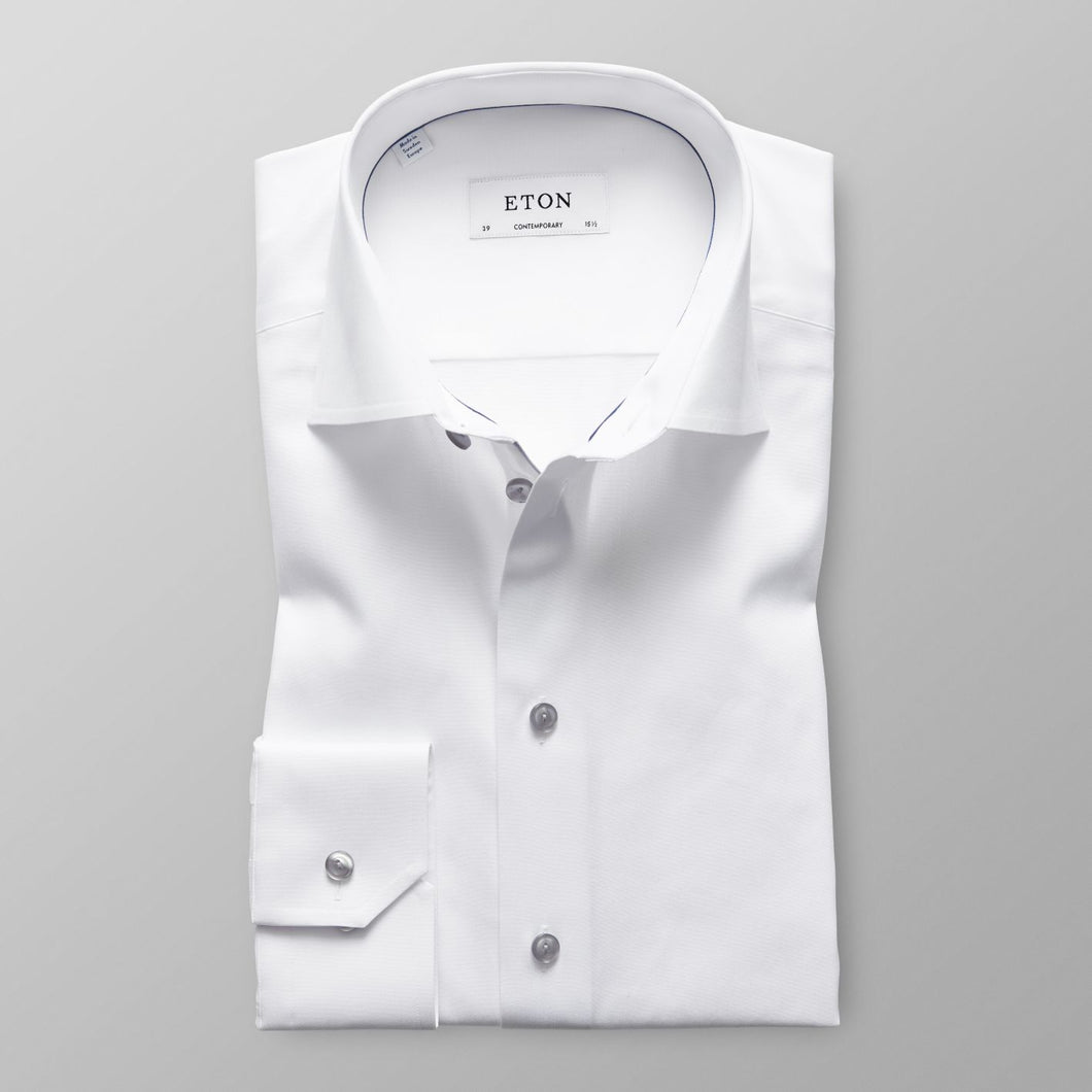White With Grey Details Slim Fit Shirt