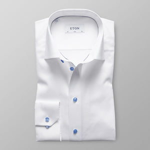 White With Blue Details Slim Fit Shirt