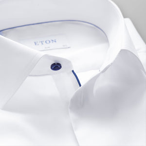 White With Navy Details Classic Fit Shirt