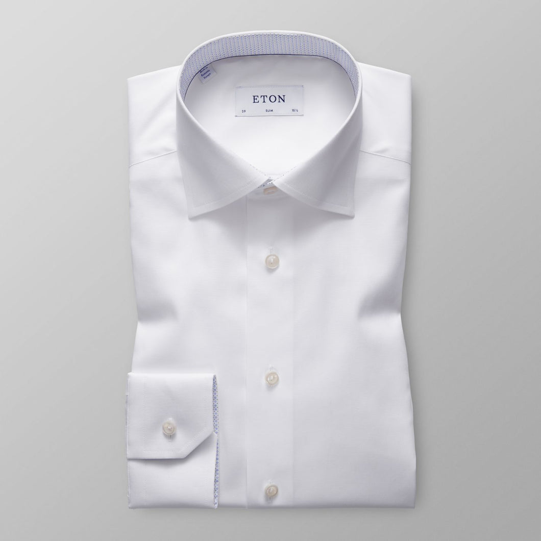 White With Contrast Slim Fit Shirt