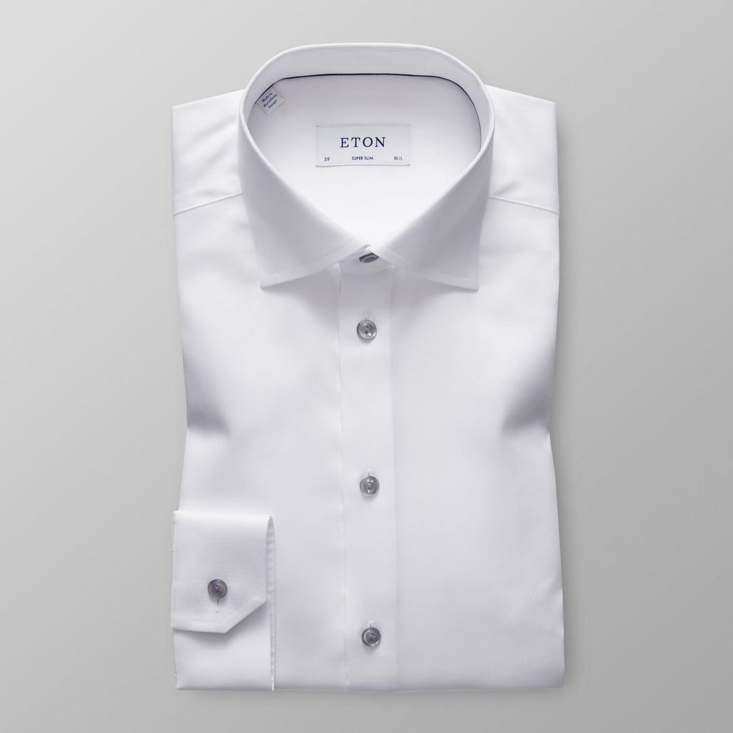 White With Grey Details Contemporary Fit Shirt