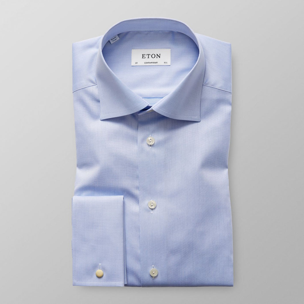 French Cuff Light Blue Twill Shirt Super Slim Fit