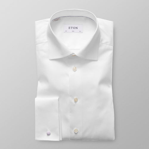 French Cuff White Twill Shirt Slim Fit
