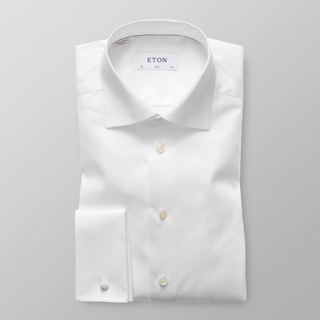 French Cuff White Twill Shirt Contemporary Fit