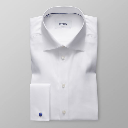 French Cuff White Twill Shirt Super Slim Fit