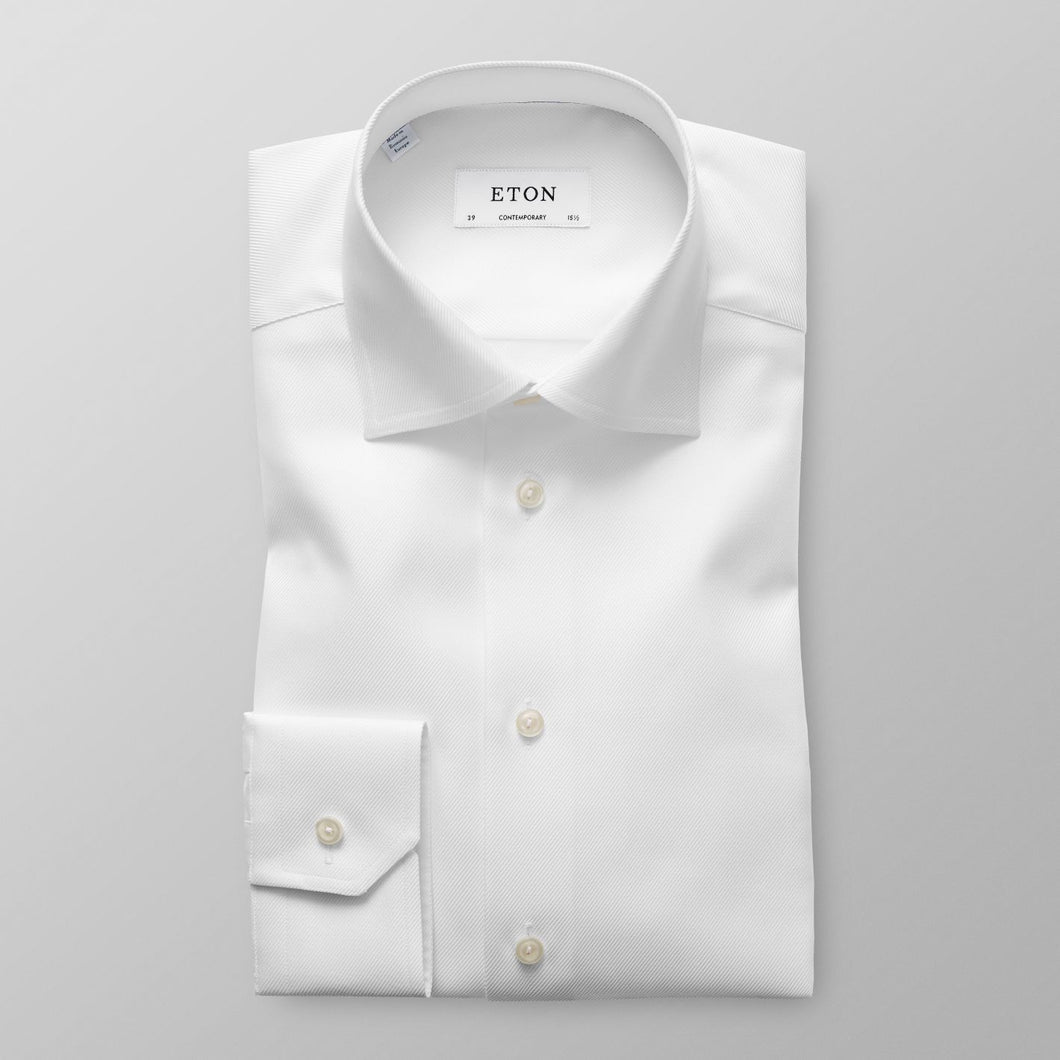 White Textured Twill Shirt Contemporary Fit