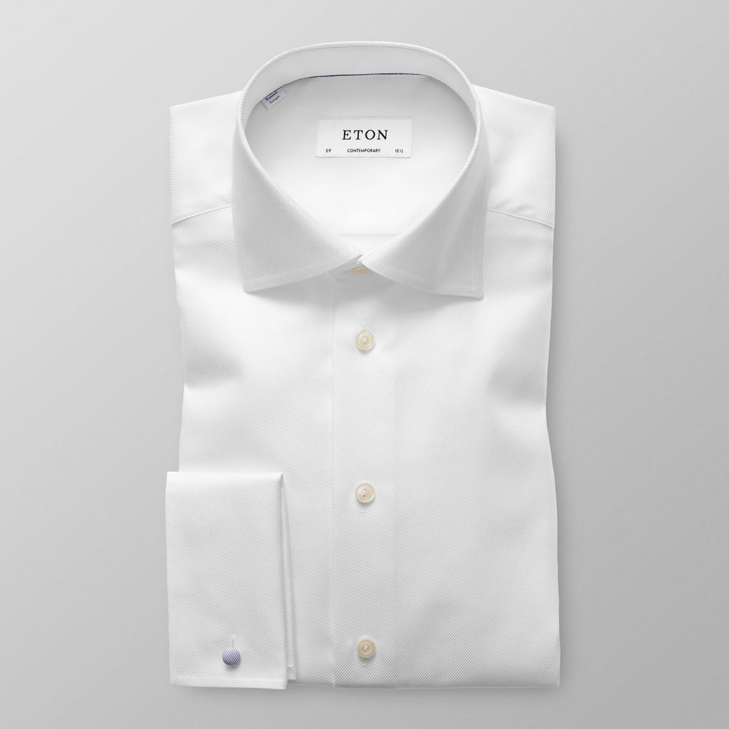 French Cuff White Textured Twill Shirt Slim Fit