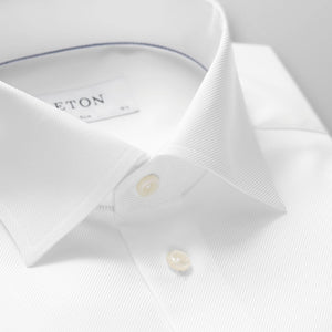French Cuff White Textured Twill Shirt Contemporary Fit
