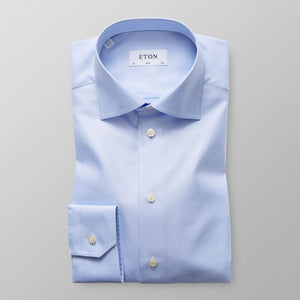 Light Blue Textured Twill Shirt Slim Fit