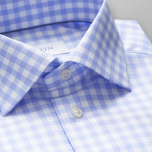 Load image into Gallery viewer, Blue Gingham Check Twill Shirt Contemporary Fit