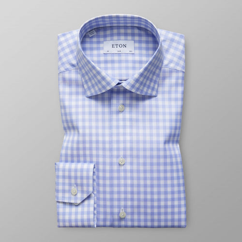 Blue Gingham Check Twill Shirt Contemporary Fit