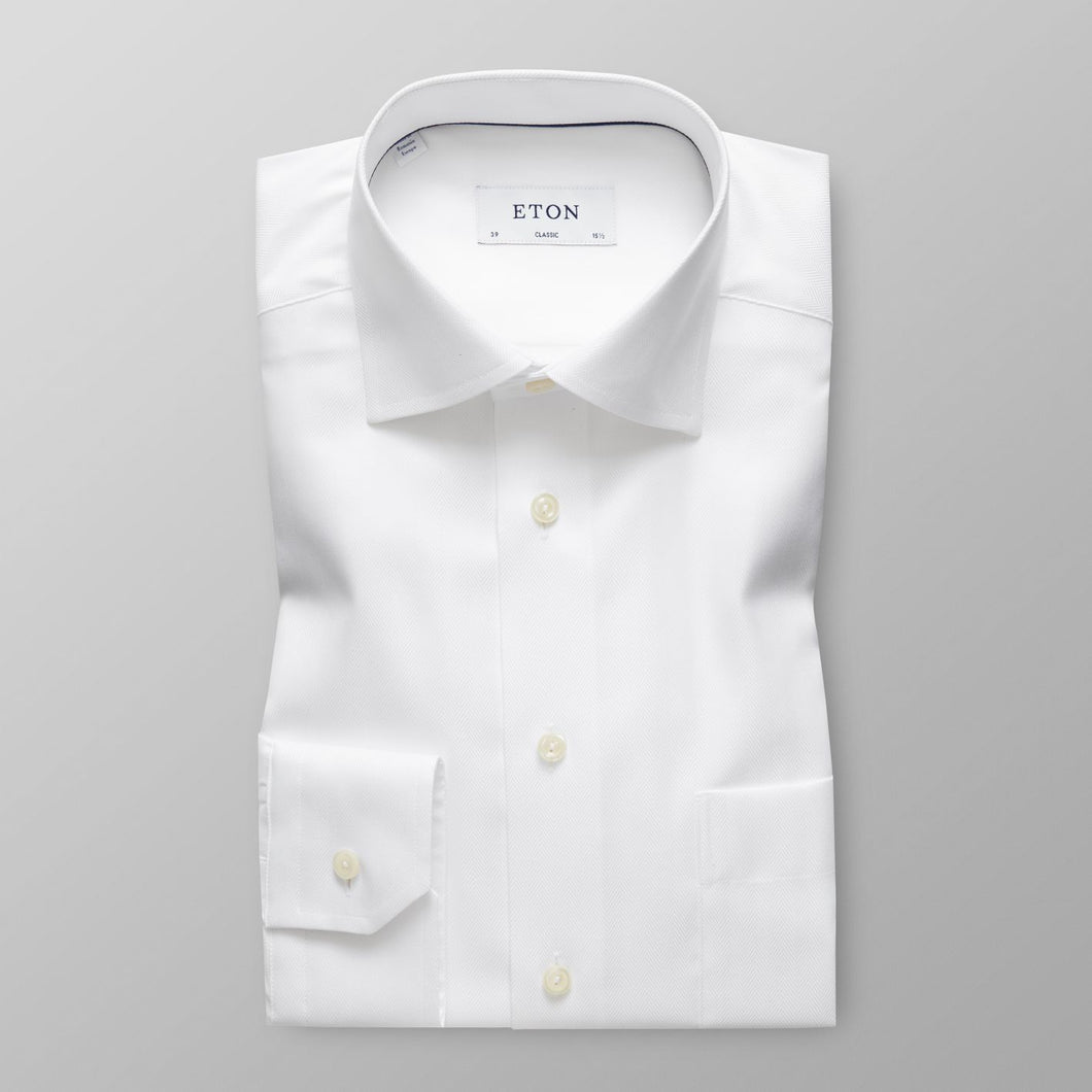 White Herringbone Twill Shirt Classic Fit
