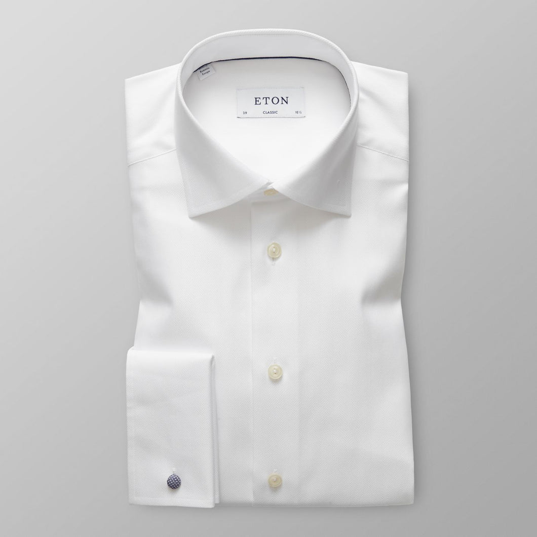 French Cuff White Herringbone Twill Shirt Contemporary Fit