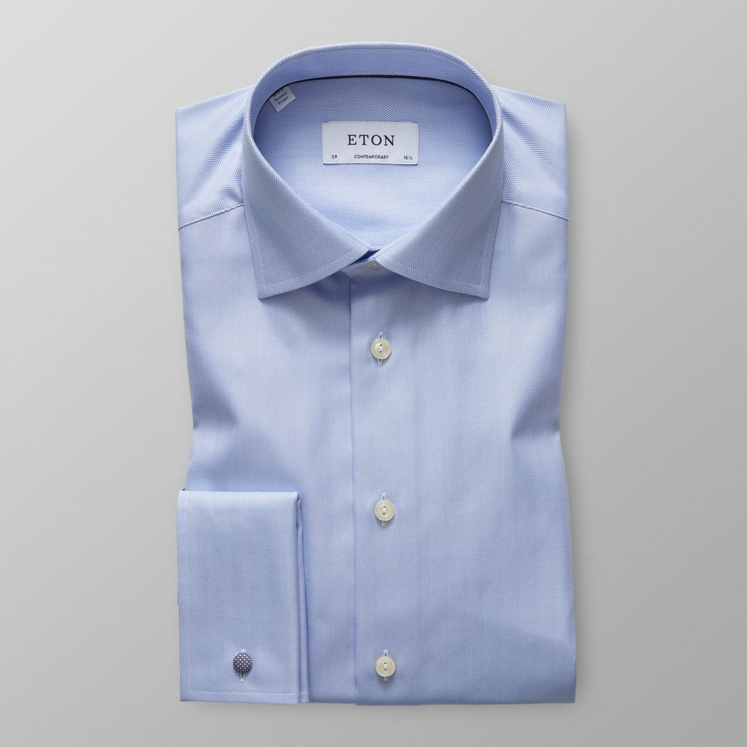 French Cuff Sky Blue Herringbone Twill Shirt Contemporary Fit