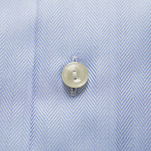Load image into Gallery viewer, French Cuff Sky Blue Herringbone Twill Shirt Contemporary Fit