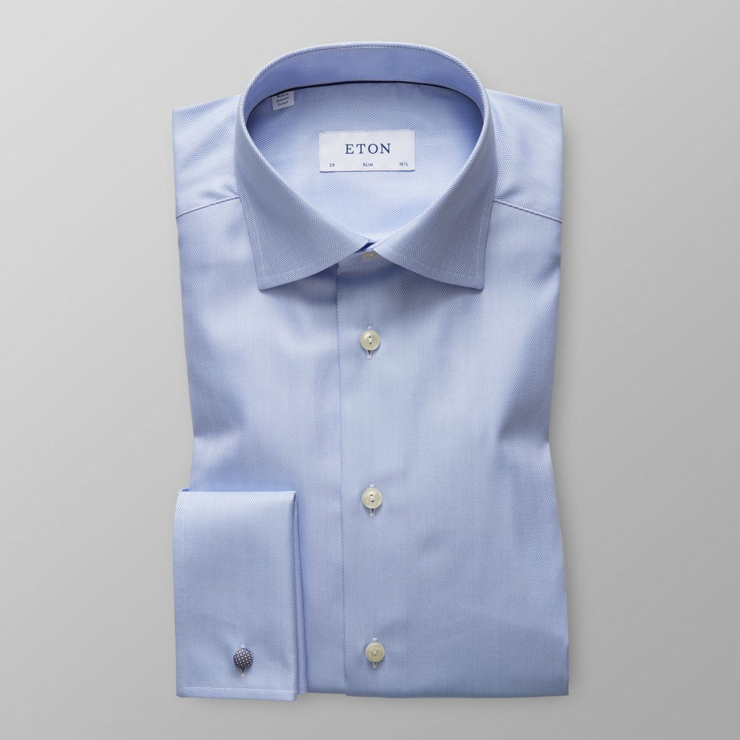 French Cuff Sky Blue Herringbone Twill Shirt Slim Fit