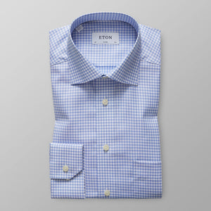 Sky Blue Check Twill Shirt Classic Fit