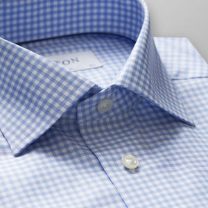 Sky Blue Check Twill Shirt Contemporary Fit