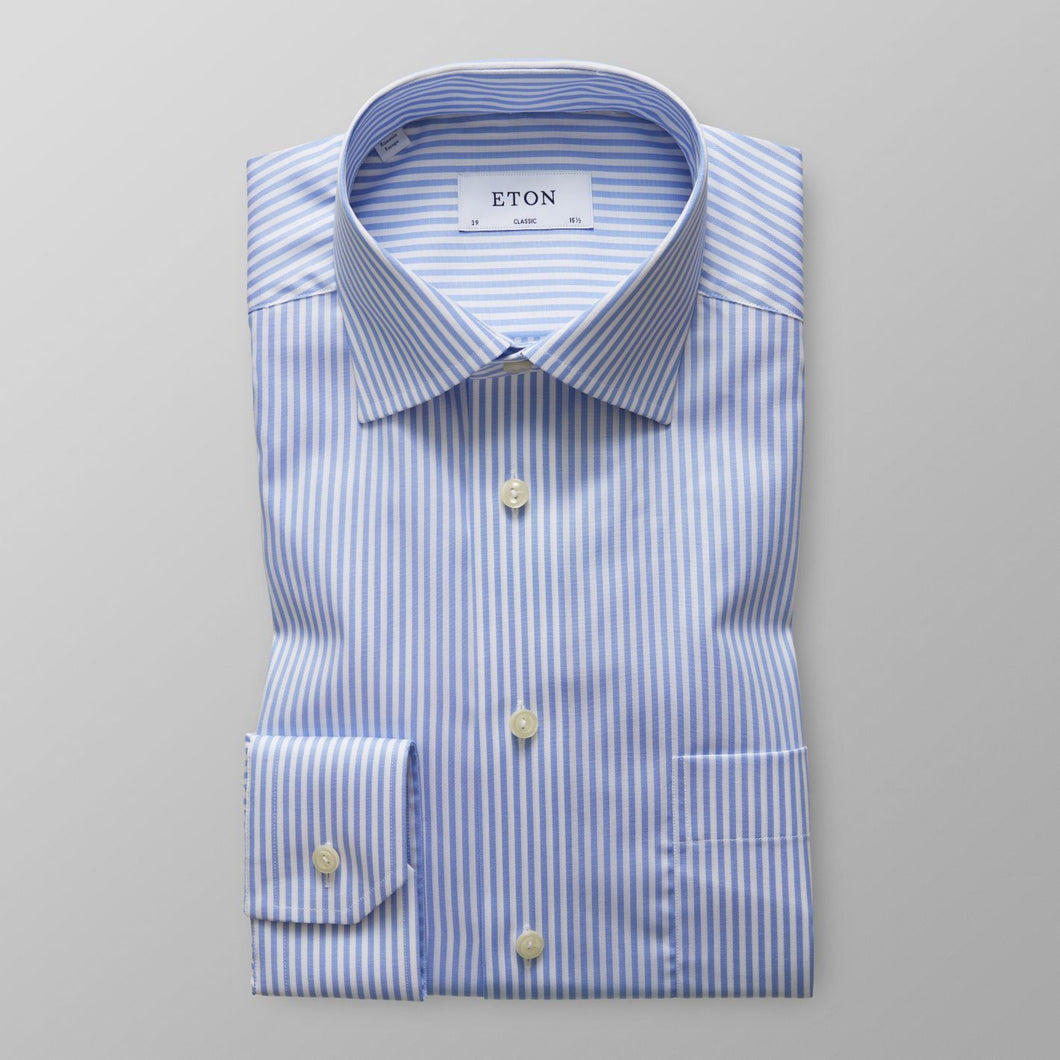 Sky Blue Striped Twill Shirt Classic Fit