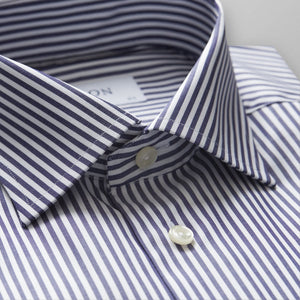 Navy Striped Twill Shirt Classic Fit