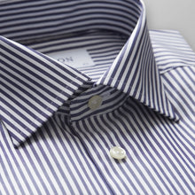 Load image into Gallery viewer, Navy Striped Twill Shirt Contemporary Fit
