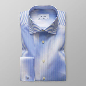 French Cuff Sky Blue Striped Twill Shirt Contemporary Fit