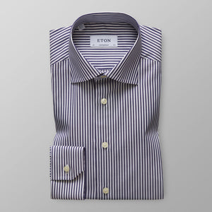 Navy Striped Twill Shirt Contemporary Fit