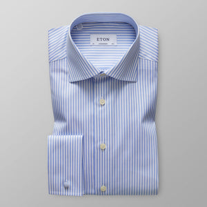 French Cuff Sky Blue Striped Twill Shirt Slim Fit