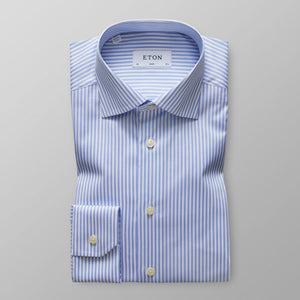 Sky Blue Striped Twill Shirt Contemporary Fit